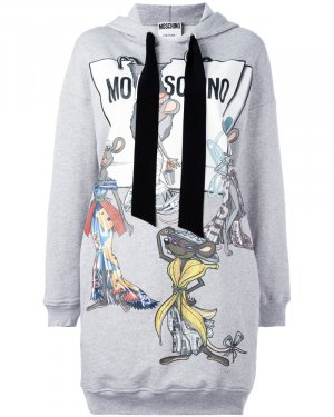 Moschino Hooded Dress silver-colored cotton