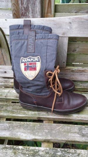 Neu Napapiji Stiefel Boots Schnürstiefel Schnürboots Echt Leder Braun gr 37