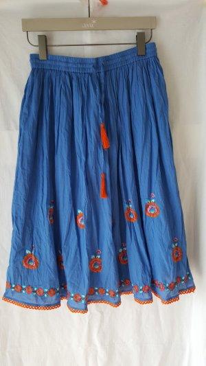 Kreukelrok oranje-korenblauw Katoen