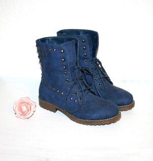 Neu Nieten Boots gr.38 Blau Schnürstiefel Stiefelette