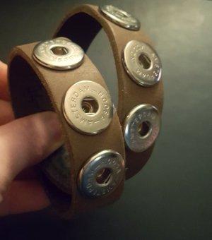Noosa Braccialetto di cuoio marrone-grigio