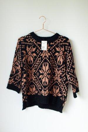 NEU Norweger Pullover von H&M schwarz Korall S Pulli Grobstrick
