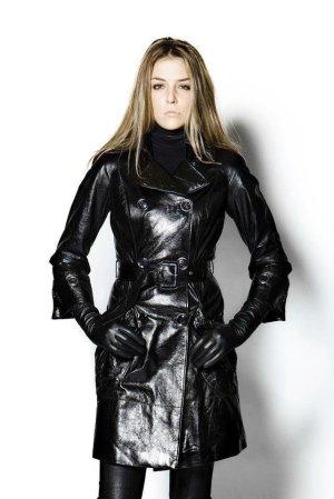 Manteau en cuir blanc-noir cuir