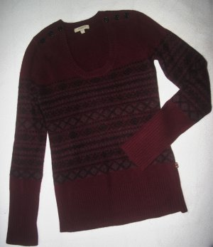 NEU! NP:820€ Dicker Burberry Woll-Pullover Gr.S/XS 34/36 dunkel-rot Luxus