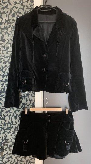 NEU NP 890€ Samt Anzug Blazer Rock Jacke 36 S Schwarz