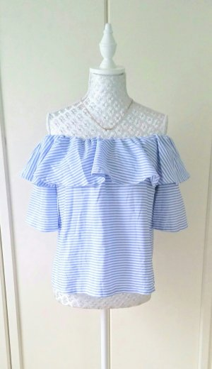 NEU Off Shoulder Shirt / blau weiss