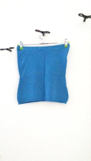 H&M Top bandeau azul neón tejido mezclado