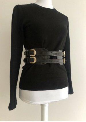 Zara Cinturón de cadera marrón-negro Imitación de cuero