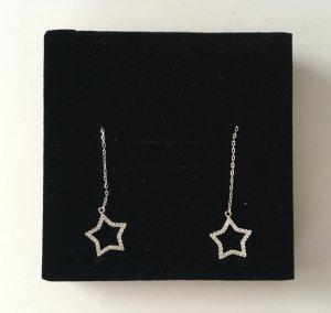 * NEU * Ohrrringe Ohrhänger Sterne Stern 925 Silber Zirkonia Steine
