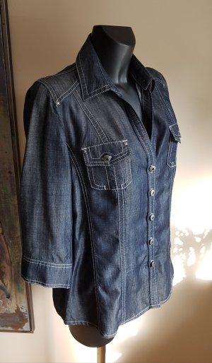 NEU- Olsen Lyocell Jeans Hemd Bluse, 3/4 Ärmel, 42, abnehmbar Kragen