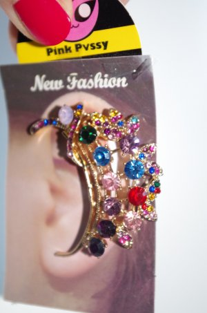 Neu! Opulentes Ear Cuff gold mit bunten Steinen