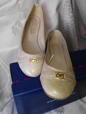Neu! Orginal TOM TAILOR Ballerinas in Beige/ Gold, Gr.39!