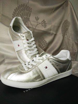 Tommy Hilfiger Sneakers met veters wit-zilver Leer