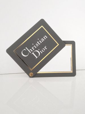 NEU Original Christian Dior Taschenspiegel Make Up Spiegel grau gold