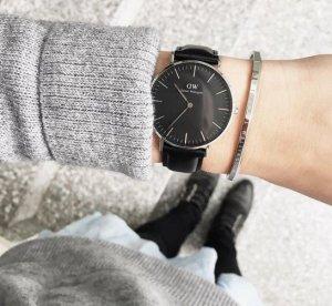 Daniel Wellington Reloj negro-color plata Cuero