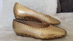 Neu Original Di Sandro Designer Slipper Ballerina Schuhe Gold Echt Leder gr 38