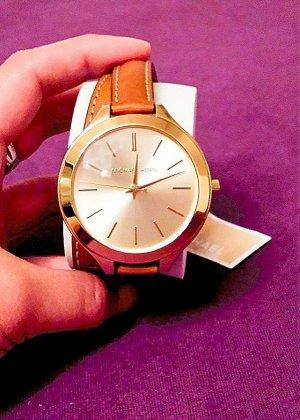 Michael Kors Horloge met lederen riempje donker oranje-sleutelbloem Metaal
