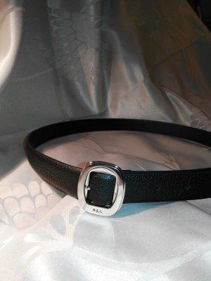 Ralph Lauren Leather Belt black-silver-colored