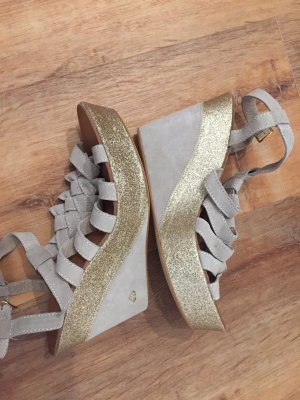 NEU Original Wedges Sandaletten gold/grau