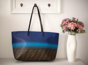 Fendi Borsa shopper bronzo-blu scuro