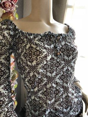 Orsay Camisa tipo Carmen marrón oscuro-azul pálido
