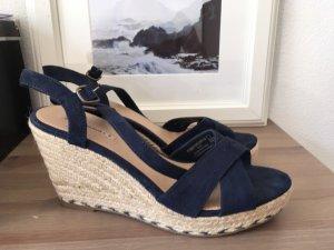 Oysho Wedge Sandals beige-dark blue