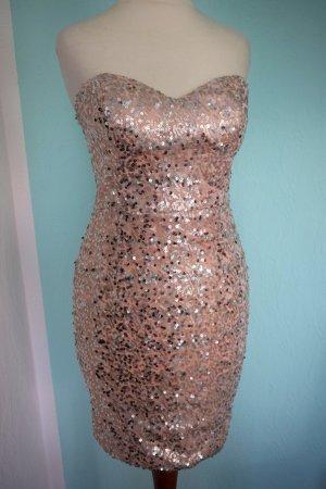neu Paillettenkleid rosé gold metallic Bandeaukleid sexy Minikleid