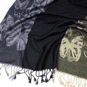 NEU Pashmina Schal BUTTERLFY Tuch Schwarz Beige Paisley Stil