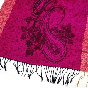 NEU Pashmina Schal DUO Colors Tuch Pink Rosa Paisley