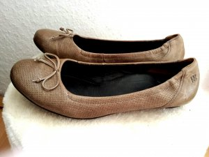 Neu Paul Green Slipper Ballerina Schuh Echt Leder Taupe gr  41  7.5