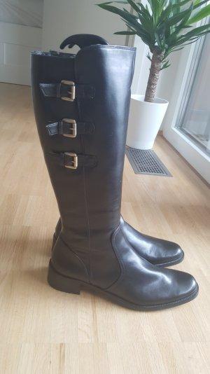 NEU Paul Green Stiefel aus schwarzem Leder mit echtem Fell innen