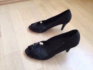 Neu: Peeptoes/ Pumps / High Heels aus Satin/Kunstleder, schwarz Gr. 38