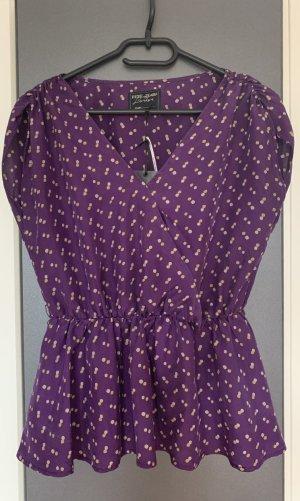 Neu Pepe Jeans Damen Seiden Top Bluse Tunika Oberteil S 34 Violett Lila