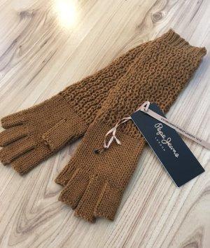 NEU Pepe Jeans Fingerlos Handschuhe Strickhandschuhe Cognac Fingerfrei