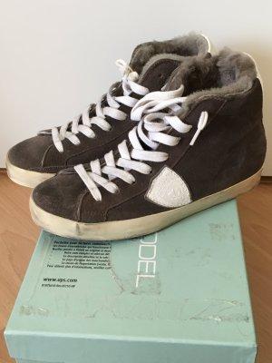 NEU Philippe Model High Sneaker Taupe Braun mit Fell Gr 36