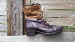 Neu Piazza Italy Boots Schnürstiefel Echt Leder Top Farbe Lila Schwarz Antik 38