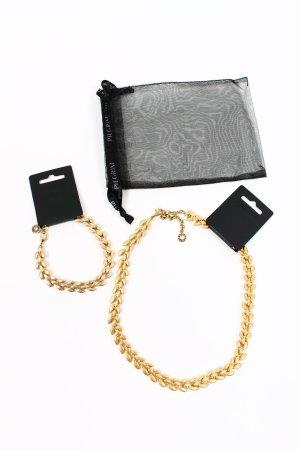 NEU * Pilgrim Schmuck Set Kette & Armband Blüten Ranken gold * mit Etiketten und Beutelchen