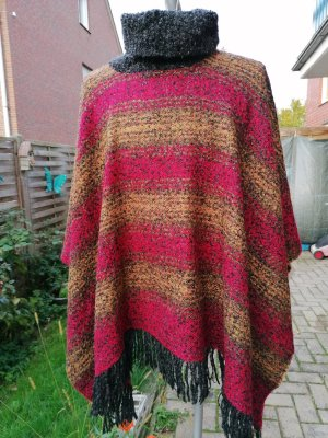 Knitted Poncho multicolored mixture fibre