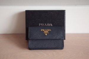 Prada Card Case dark blue leather