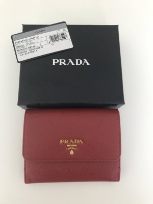 Prada Wallet brick red leather