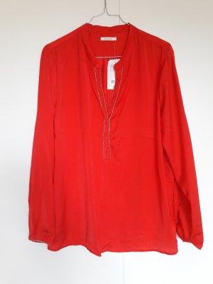 NEU Promod langärmelige Tunika-Bluse rot mit silbernen Perlen Gr. 42