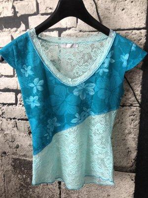 Promod Mesh Shirt turquoise-light blue cotton