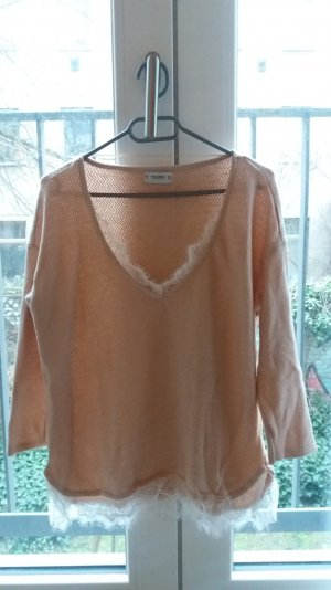 NEU Pull & Bear rosa nude hellrosa Strickpullover Sweater mit Spitze Lace 36 S