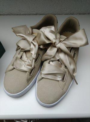 NEU! Puma Leder Basket Heart Sneaker Gr.39 beige+weiß
