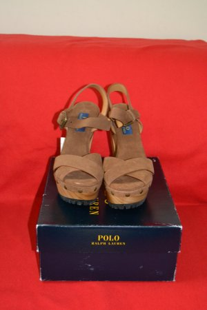 Polo Ralph Lauren Platform High-Heeled Sandal brown leather