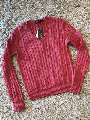 Polo Ralph Lauren Pull col en V rouge clair coton