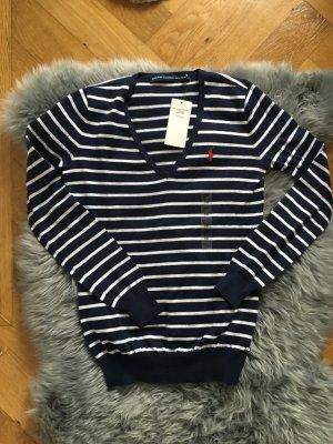 NEU Ralph lauren Pullover Pulli strick pima cotton blau weiß XS 34 36