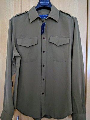 Ralph Lauren Chemise à manches longues vert olive soie
