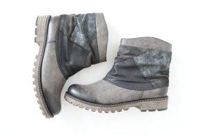 * NEU Rieker Ankle Boots Stiefeletten Winter Schuhe 40 grau metallisch gefüttert warm *