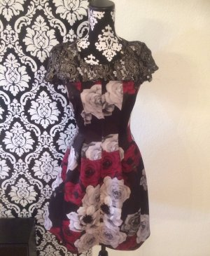 NEU Rinascimento Kleid Blumen Blüten Spitze Bordeaux Schwarz S 36